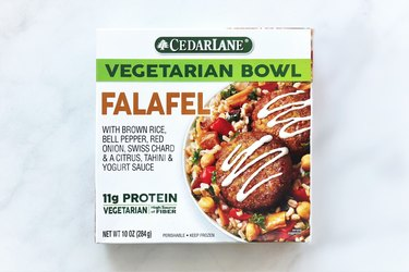 Cedarlane Vegetarian Falafel Bowl is a frozen vegetarian entrée with its main source of protein coming from garbanzo beans.