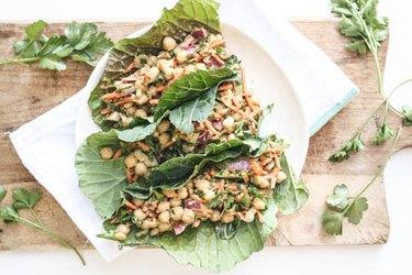 Chickpea And Avocado Collard Green Tacos With Tahini Sauce collard greens recipes