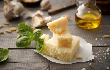 Parmesan cheese with basil