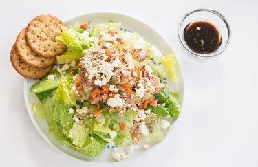 Salad with tuna and feta cheese for keto diet