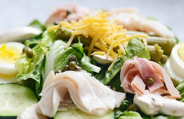 chef's salad keto recipe with asparagus and romaine lettuce
