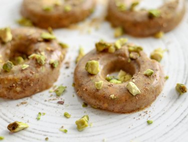 Lemon-Almond chai almond butter with chopped pistachio chia spice blend fat bomb