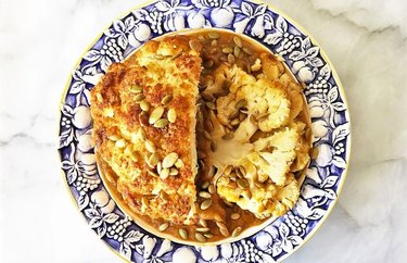 Maple Spiced Cauliflower Roast with Pumpkin Gravy recipe