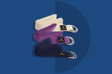 tan purple and navy hugger mugger yoga straps on dark blue background
