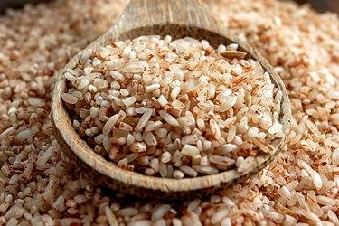 High Angle View Of Brown Rice