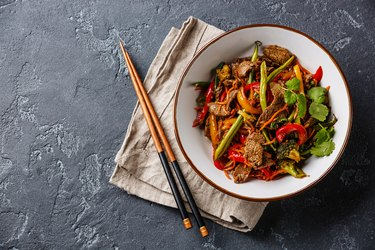Stir fry beef with vegetables in bowl