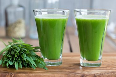 Green barley grass shot