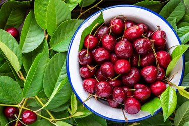 Ripe red cherry in a white bowl