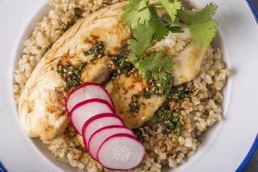 Pan Grilled Tilapia over Brown Rice