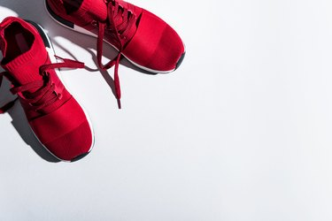 red sports shoes isolated on grey