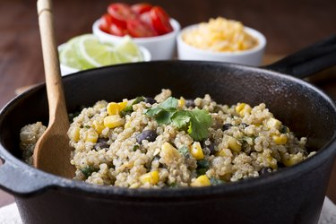 Quinoa salad in a bowl with other corn and beans