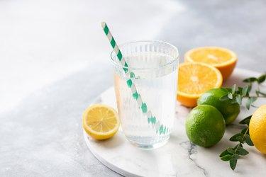 Fresh citrus tonic water with lemon juice