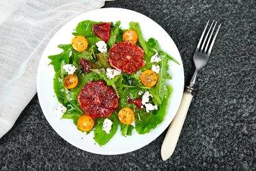 Fresh Citrus Salad. Vegan, vegetarian, clean eating, dieting, food concept.