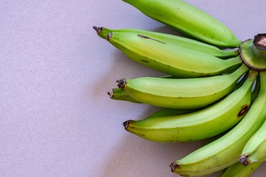 Bunch of young green plantains