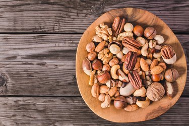 Nuts on plate above