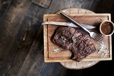 Beef steak. Piece of Grilled BBQ beef in spices