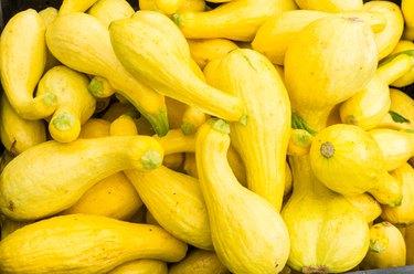 Display of yellow squash at the market