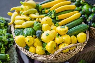 Fresh summer squash at the market