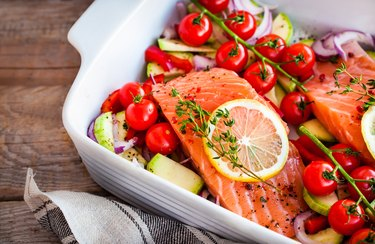 Mediterranean diet meal plan with fresh delicious salmon and vegetables