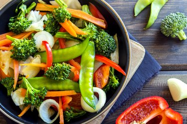top view of a bowl of stir fried vegetables, as an example of a hangover cure