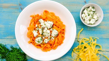 Italian Style Tagliatella Pasta With Feta Cheese