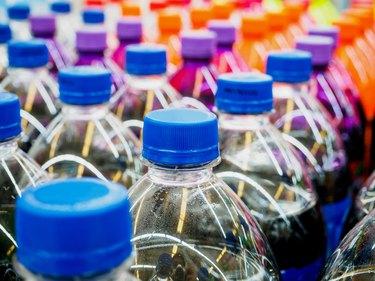 Soft drink bottles in the supermarket