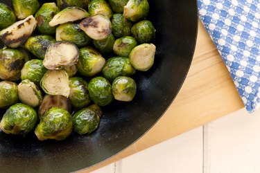 Directly Above Shot Of Brussels Sprouts On Table