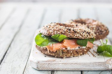 Healthy breackfast with bagels