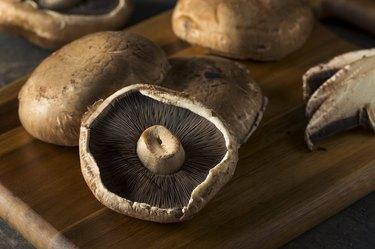 Raw Portobello Mushroom Caps meat substitutes