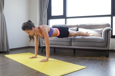 Woman during her home fitness workout