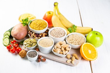 Selection of good carbohydrates sources. Healthy vegan diet