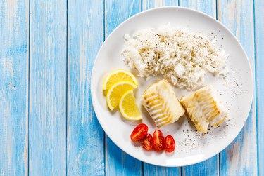 Flounder dish - fried fish fillet and vegetables