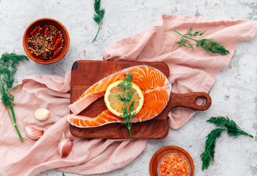 Salmon with lemon and pepper. Top view