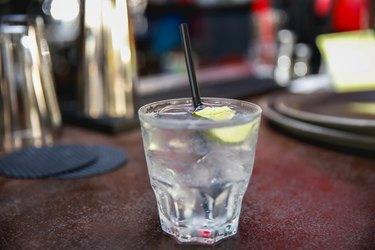 Club soda on a bar
