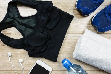 Running gear laid out on a table