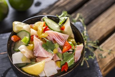 Fresh seafood Ceviche in bowl