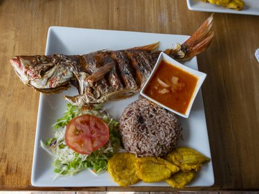 Fried whole fish is a traditional dish in Costa Rica
