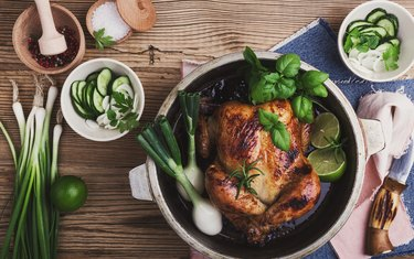 Roasted chicken with green vegetables salad and fresh herbs