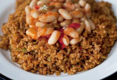 Turkish Food: Bulgur wheat, vegetable and chickpea pilaf.