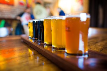 A variety set of craft beers light and dark
