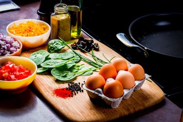 A keto diet meal plan includes eggs, cheese, olives and low-carb vegetables