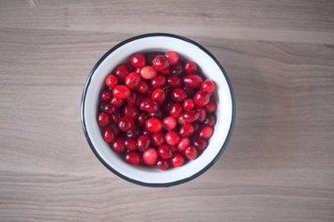 Bowl full of cranberries