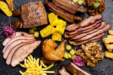 steakhouse menu smoked meat assortment vegetables