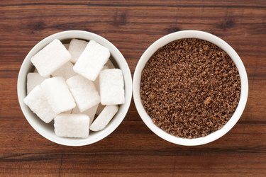 Brown and cubed sugar