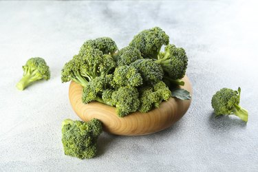 Bunch of broccoli, edible green plants in the cabbage family.