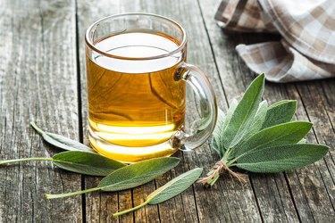Sage tea and sage leaves.