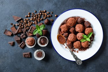 Homemade dark chocolate truffles rolled in cocoa powder