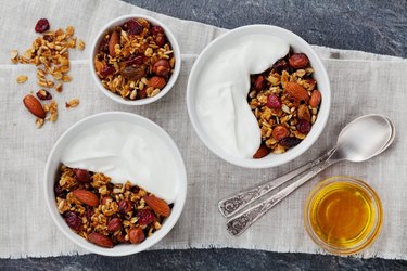 Granola or muesli with yogurt, healthy and  healthy sweet snacks