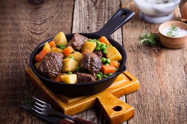 Beef and vegetable stew with potatoes