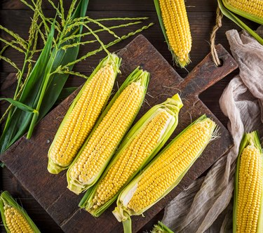 Close-Up Of Corns On Table